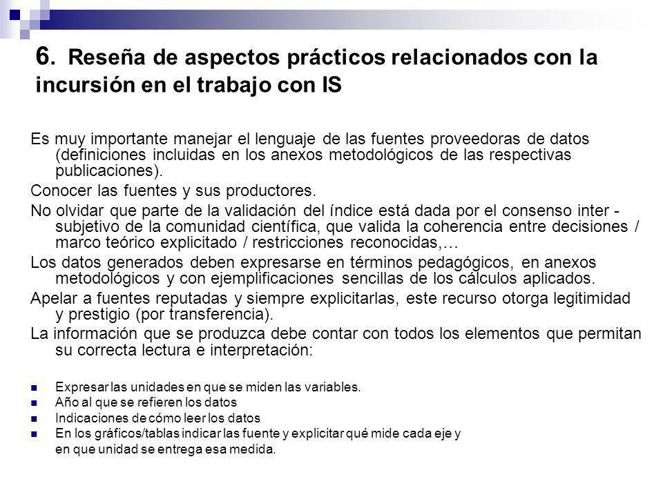 6. Reseña de aspectos prácticos relacionados con la incursión en el trabajo con IS Es muy importante manejar el lenguaje de las fuentes proveedoras de