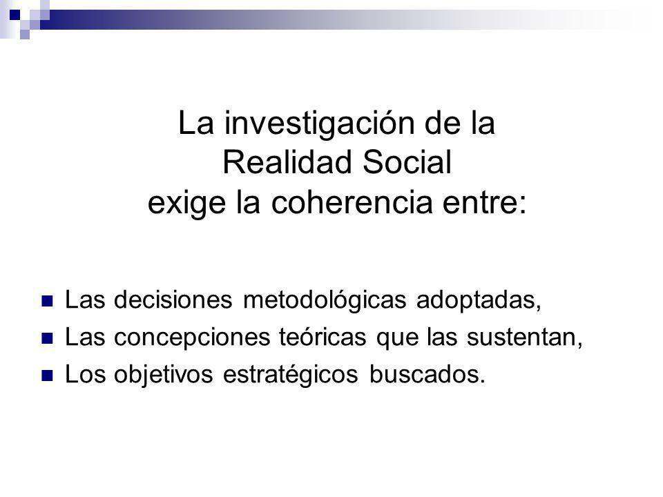 La investigación de la Realidad Social exige la coherencia entre: Las decisiones metodológicas adoptadas, Las concepciones teóricas que las sustentan,