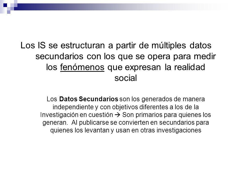 Los IS se estructuran a partir de múltiples datos secundarios con los que se opera para medir los fenómenos que expresan la realidad social Los Datos