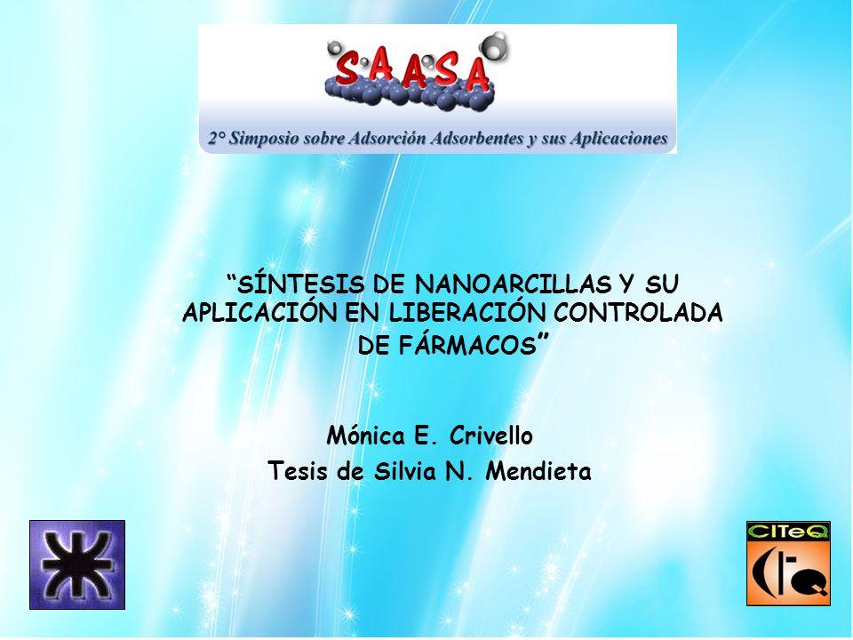 Mónica E. Crivello Tesis de Silvia N. Mendieta SÍNTESIS DE NANOARCILLAS Y SU APLICACIÓN EN LIBERACIÓN CONTROLADA DE FÁRMACOS