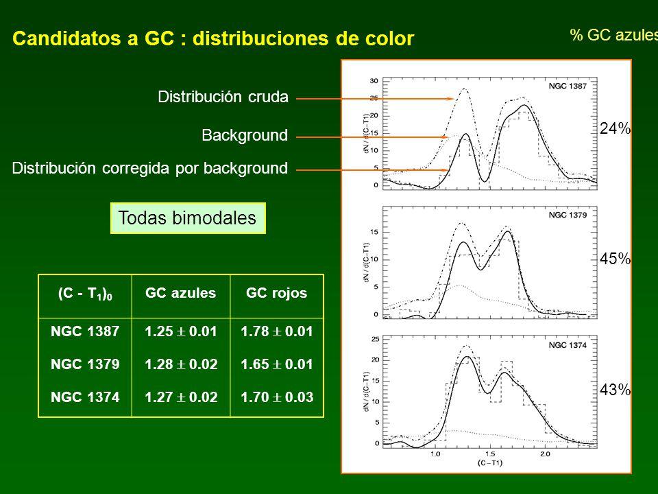 Candidatos a GC : distribuciones de color Distribución cruda Background Distribución corregida por background Todas bimodales % GC azules 24% 45% 43%