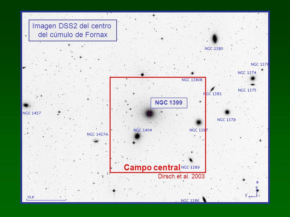 Observaciones: cámara MOSAIC : mosaico de 8 CCDs telescopio 4-m, CTIO - Chile Buena resolución en metalicidad Campo amplio: 36 x 36 ( 200 x 200 kpc a la distancia de Fornax ) imágenes CCD, filtros C y T 1 (sistema de Washington)