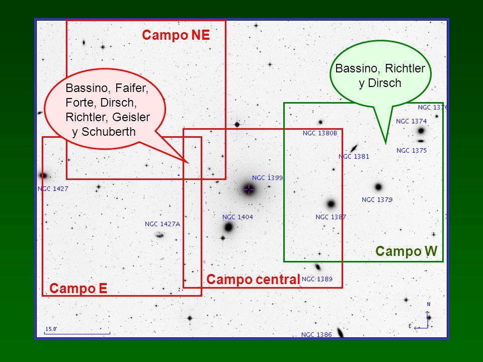Candidatos a CG: Distribución proyectada Imagen combinada C + T 1 y backgrounds seleccionados N E NGC 1387 S0 Galaxias NGC 1379 E0 de baja NGC 1374 E1 luminosidad