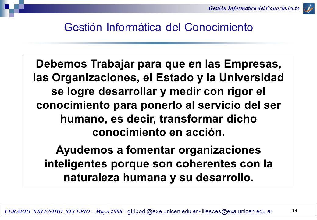 Gestión Informática del Conocimiento 11 Debemos Trabajar para que en las Empresas, las Organizaciones, el Estado y la Universidad se logre desarrollar