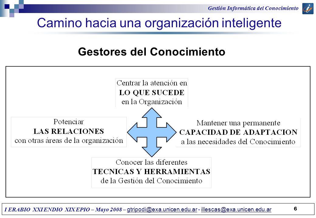 Camino hacia una organización inteligente 6 Gestores del Conocimiento Gestión Informática del Conocimiento I ERABIO XXI ENDIO XIX EPIO – Mayo 2008 – g