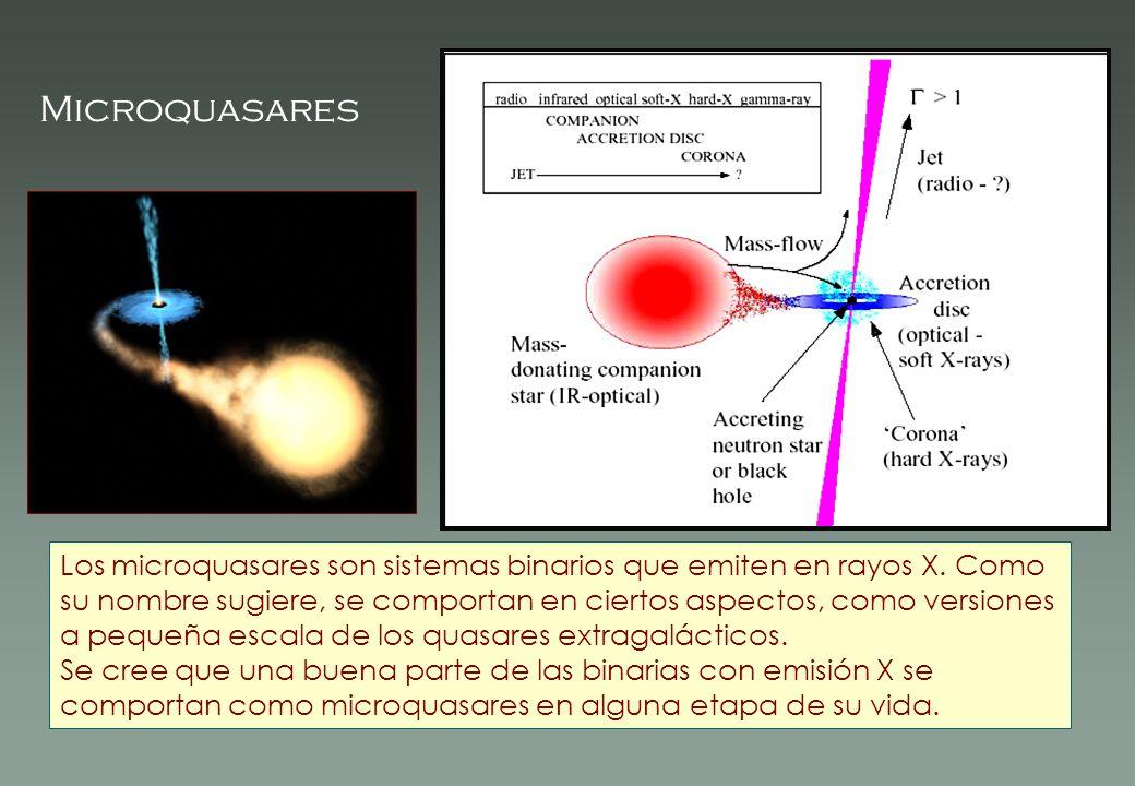Los microquasares son sistemas binarios que emiten en rayos X. Como su nombre sugiere, se comportan en ciertos aspectos, como versiones a pequeña esca