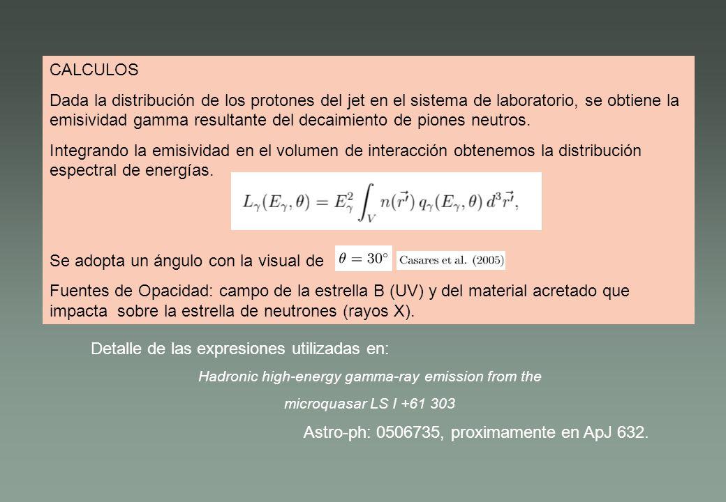 CALCULOS Dada la distribución de los protones del jet en el sistema de laboratorio, se obtiene la emisividad gamma resultante del decaimiento de pione