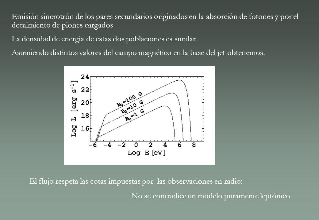 Emisión sincrotrón de los pares secundarios originados en la absorción de fotones y por el decaimiento de piones cargados La densidad de energía de es