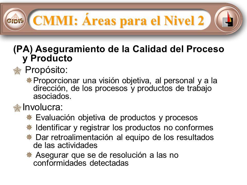 (PA) Aseguramiento de la Calidad del Proceso y Producto Propósito: Proporcionar una visión objetiva, al personal y a la dirección, de los procesos y productos de trabajo asociados.
