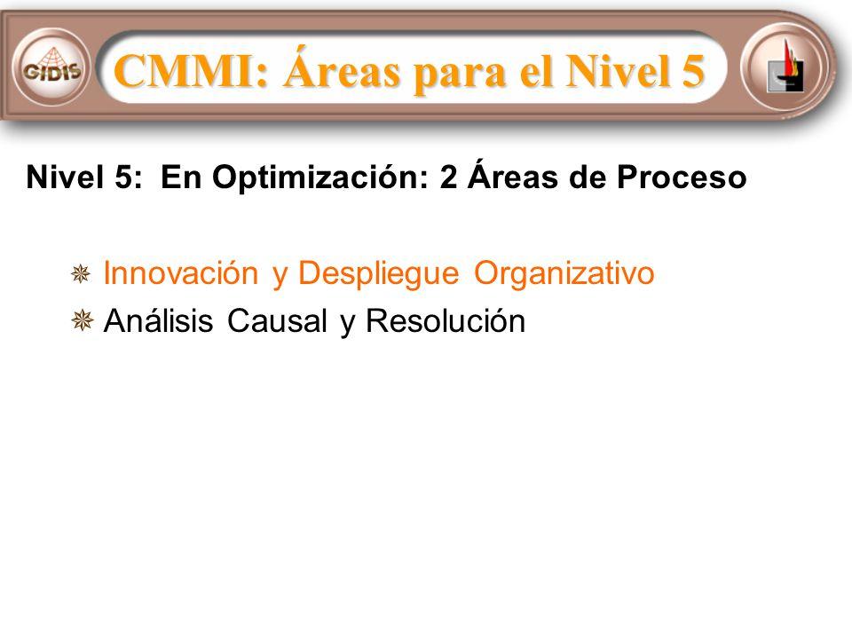 Nivel 5: En Optimización: 2 Áreas de Proceso Innovación y Despliegue Organizativo Análisis Causal y Resolución CMMI: Áreas para el Nivel 5