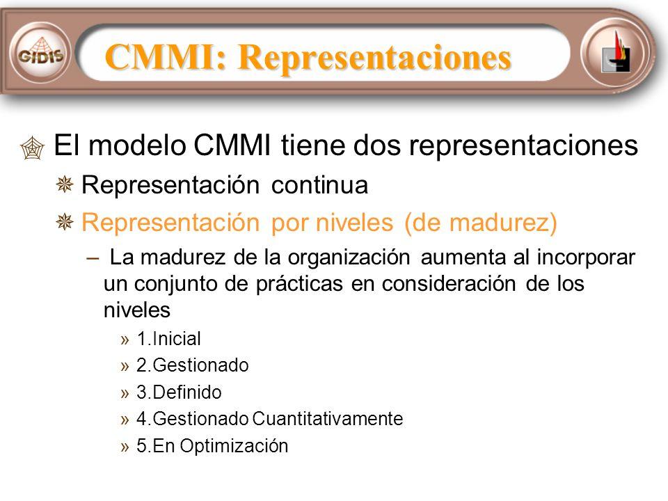 El modelo CMMI tiene dos representaciones Representación continua Representación por niveles (de madurez) – – La madurez de la organización aumenta al incorporar un conjunto de prácticas en consideración de los niveles » »1.Inicial » »2.Gestionado » »3.Definido » »4.Gestionado Cuantitativamente » »5.En Optimización CMMI: Representaciones