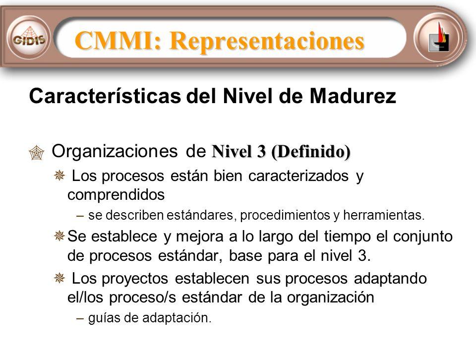 Características del Nivel de Madurez Nivel 3 (Definido) Organizaciones de Nivel 3 (Definido) Los procesos están bien caracterizados y comprendidos – –se describen estándares, procedimientos y herramientas.