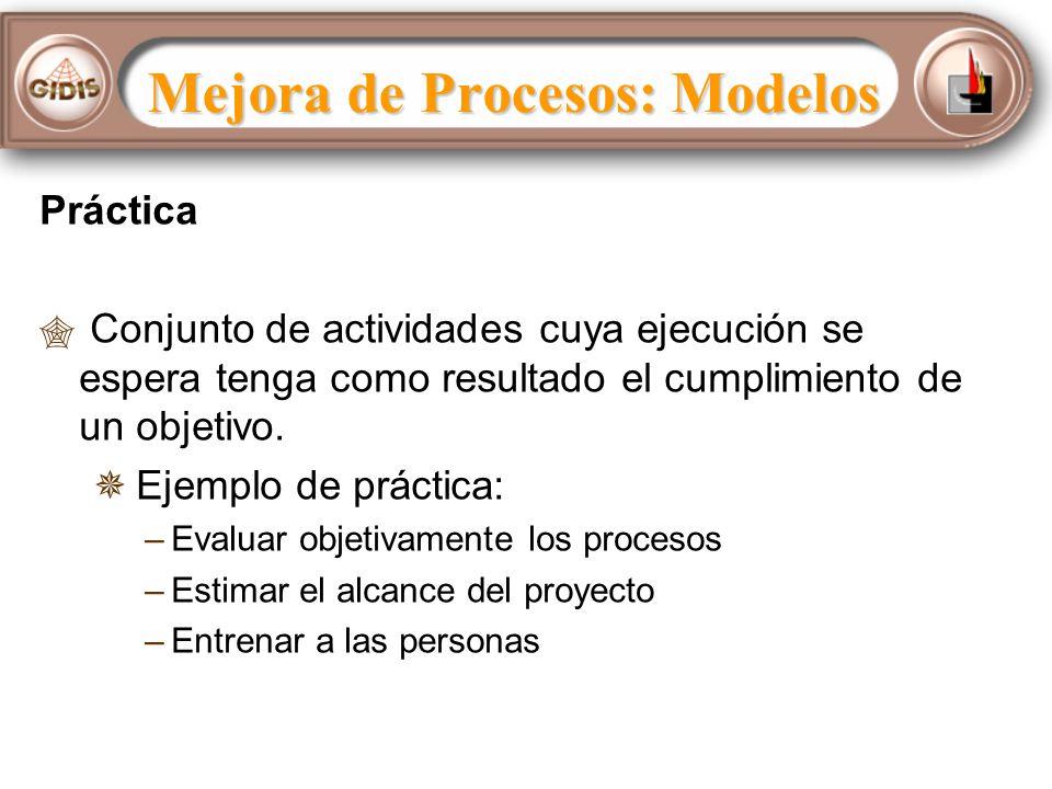 Práctica Conjunto de actividades cuya ejecución se espera tenga como resultado el cumplimiento de un objetivo.