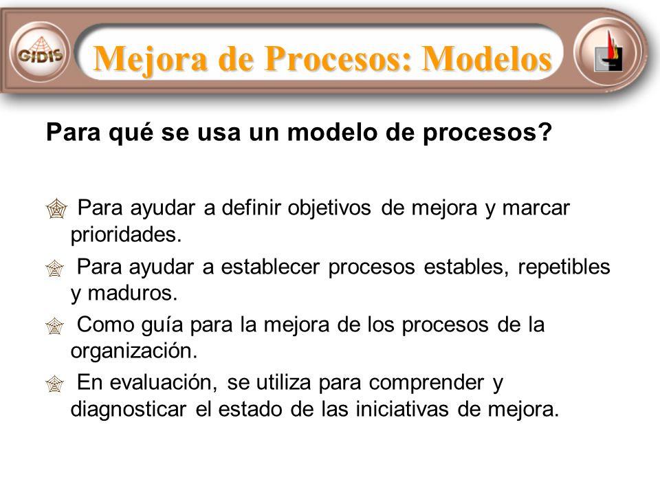 Mejora de Procesos: Modelos Para qué se usa un modelo de procesos.