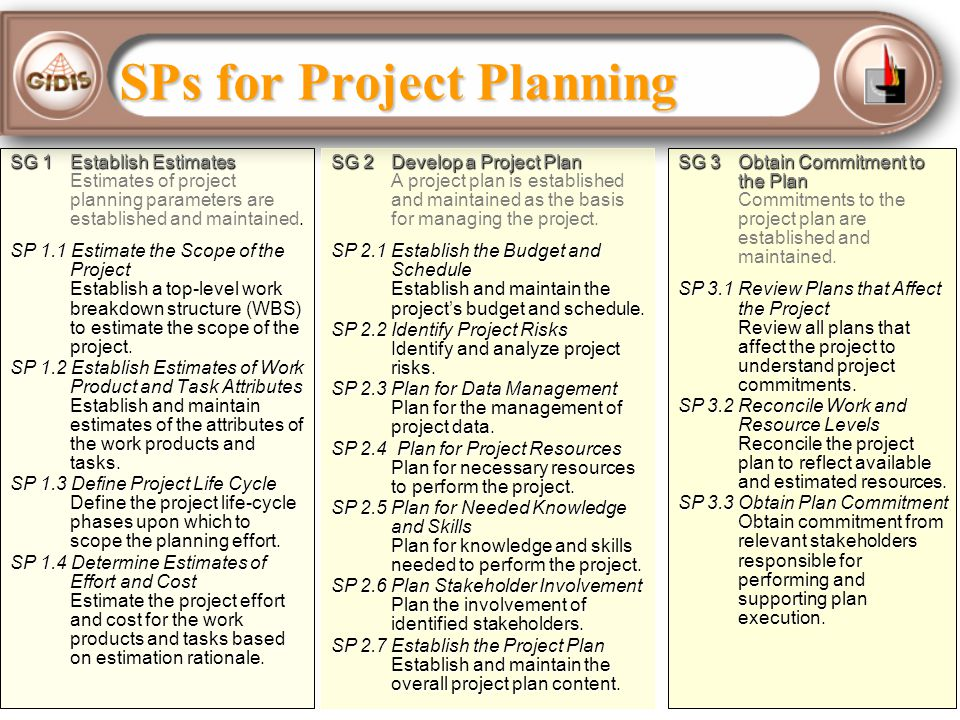 SPs for Project Planning SG 1 Establish Estimates SG 1 Establish Estimates Estimates of project planning parameters are established and maintained. SP