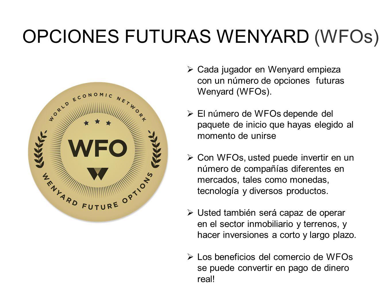OPCIONES FUTURAS WENYARD (WFOs) Cada jugador en Wenyard empieza con un número de opciones futuras Wenyard (WFOs). El número de WFOs depende del paquet