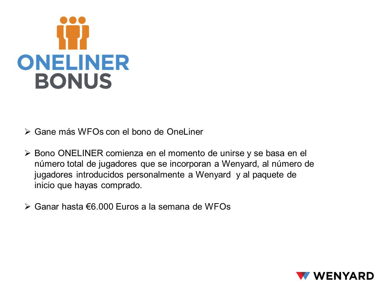 Gane más WFOs con el bono de OneLiner Bono ONELINER comienza en el momento de unirse y se basa en el número total de jugadores que se incorporan a Wen