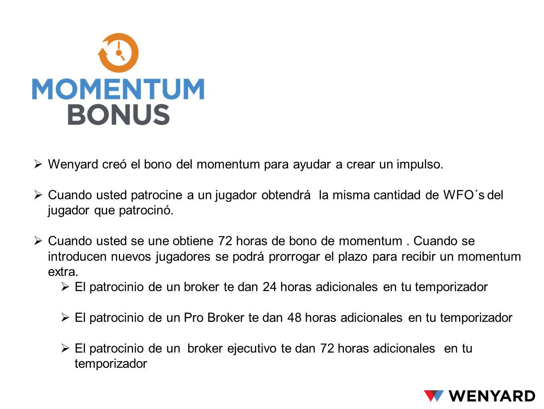 Wenyard creó el bono del momentum para ayudar a crear un impulso. Cuando usted patrocine a un jugador obtendrá la misma cantidad de WFO´s del jugador