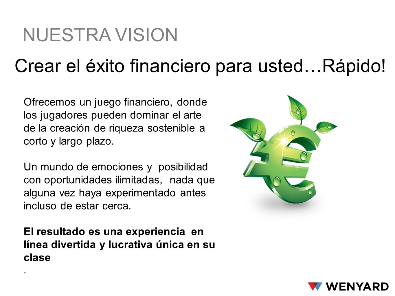 NUESTRA VISION Crear el éxito financiero para usted…Rápido! Ofrecemos un juego financiero, donde los jugadores pueden dominar el arte de la creación d