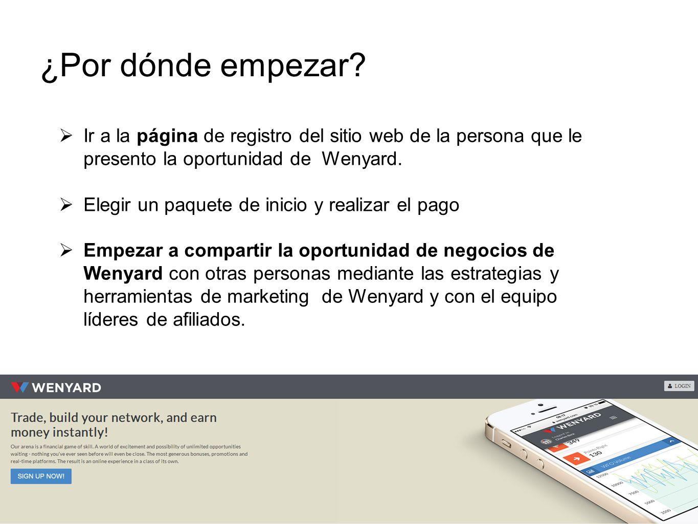 Ir a la página de registro del sitio web de la persona que le presento la oportunidad de Wenyard. Elegir un paquete de inicio y realizar el pago Empez