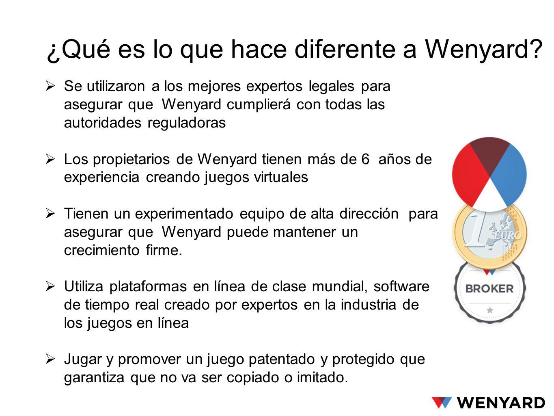 Se utilizaron a los mejores expertos legales para asegurar que Wenyard cumplierá con todas las autoridades reguladoras Los propietarios de Wenyard tie