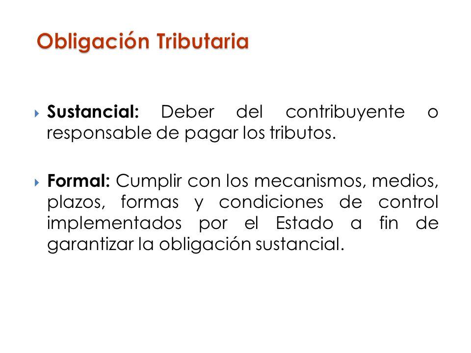 Sustancial: Deber del contribuyente o responsable de pagar los tributos. Formal: Cumplir con los mecanismos, medios, plazos, formas y condiciones de c