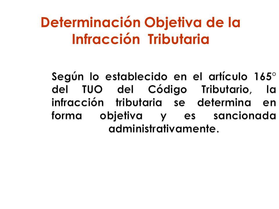 Según lo establecido en el artículo 165° del TUO del Código Tributario, la infracción tributaria se determina en forma objetiva y es sancionada admini