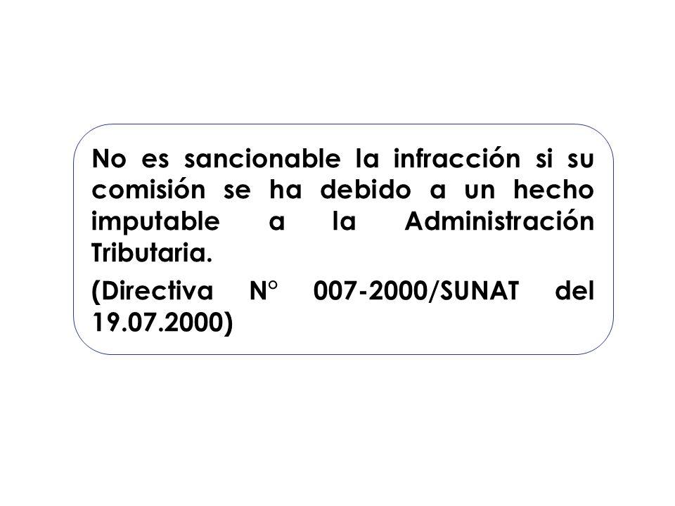 No es sancionable la infracción si su comisión se ha debido a un hecho imputable a la Administración Tributaria. (Directiva N° 007-2000/SUNAT del 19.0