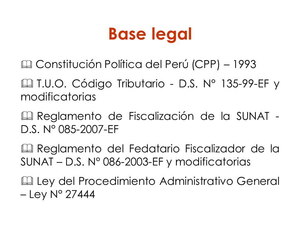 Base legal Constitución Política del Perú (CPP) – 1993 T.U.O. Código Tributario - D.S. N° 135-99-EF y modificatorias Reglamento de Fiscalización de la