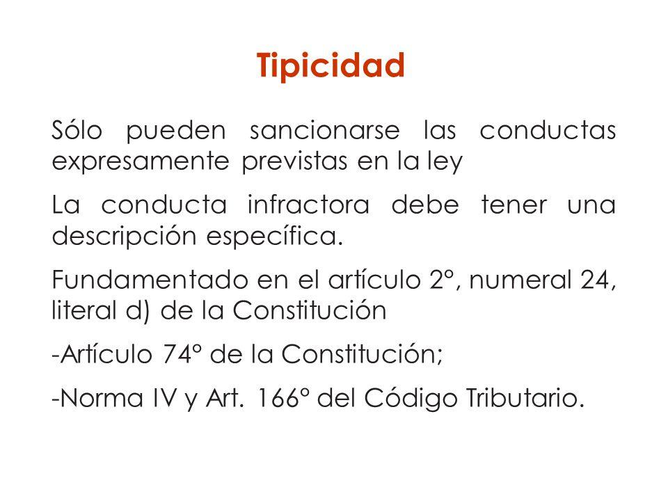 Sólo pueden sancionarse las conductas expresamente previstas en la ley La conducta infractora debe tener una descripción específica. Fundamentado en e