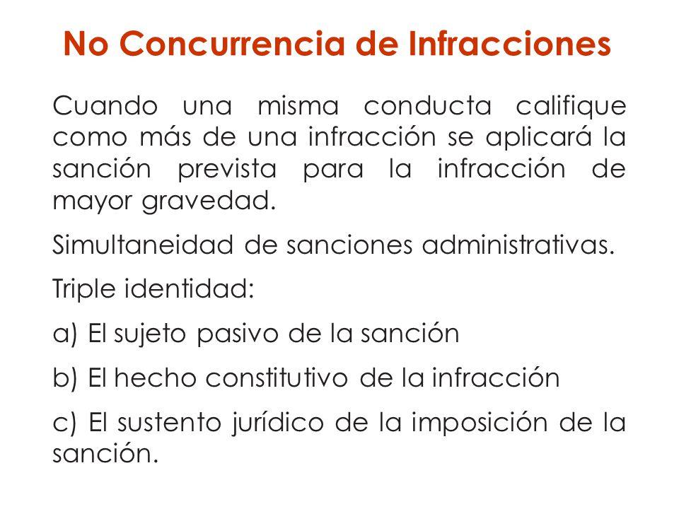 Cuando una misma conducta califique como más de una infracción se aplicará la sanción prevista para la infracción de mayor gravedad. Simultaneidad de