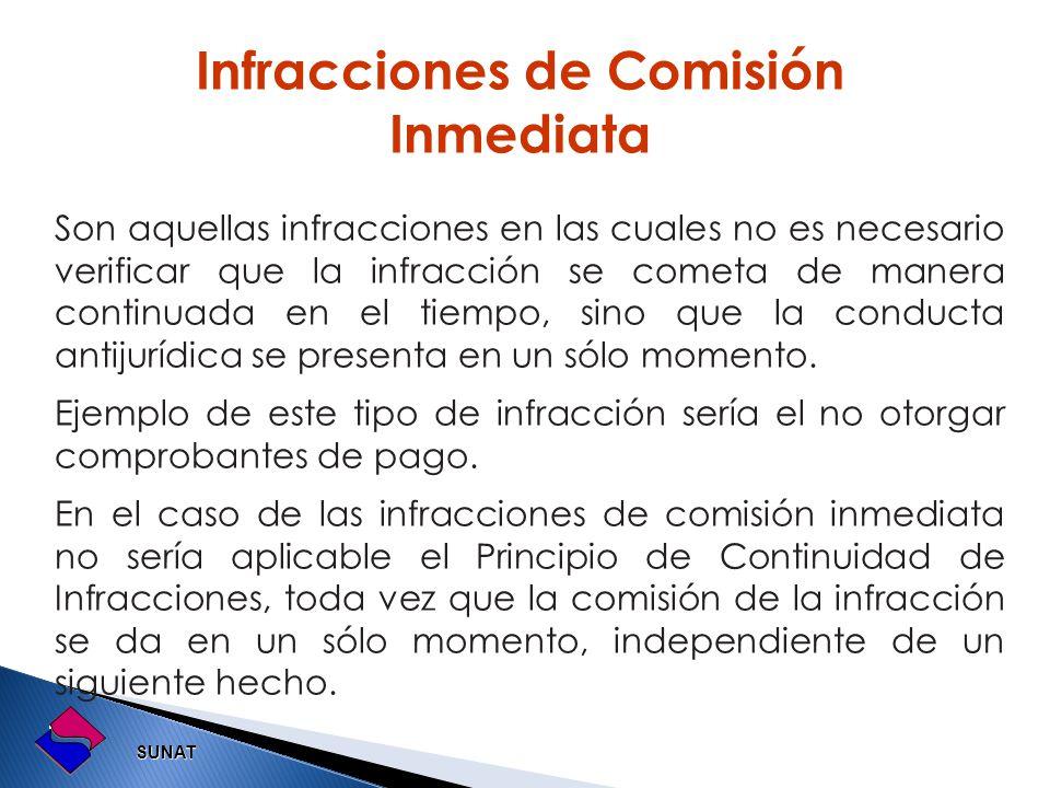 SUNAT SUNAT Son aquellas infracciones en las cuales no es necesario verificar que la infracción se cometa de manera continuada en el tiempo, sino que