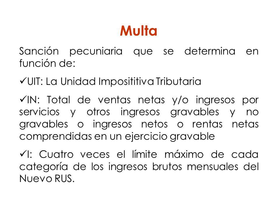Multa Sanción pecuniaria que se determina en función de: UIT: La Unidad Imposititiva Tributaria IN: Total de ventas netas y/o ingresos por servicios y