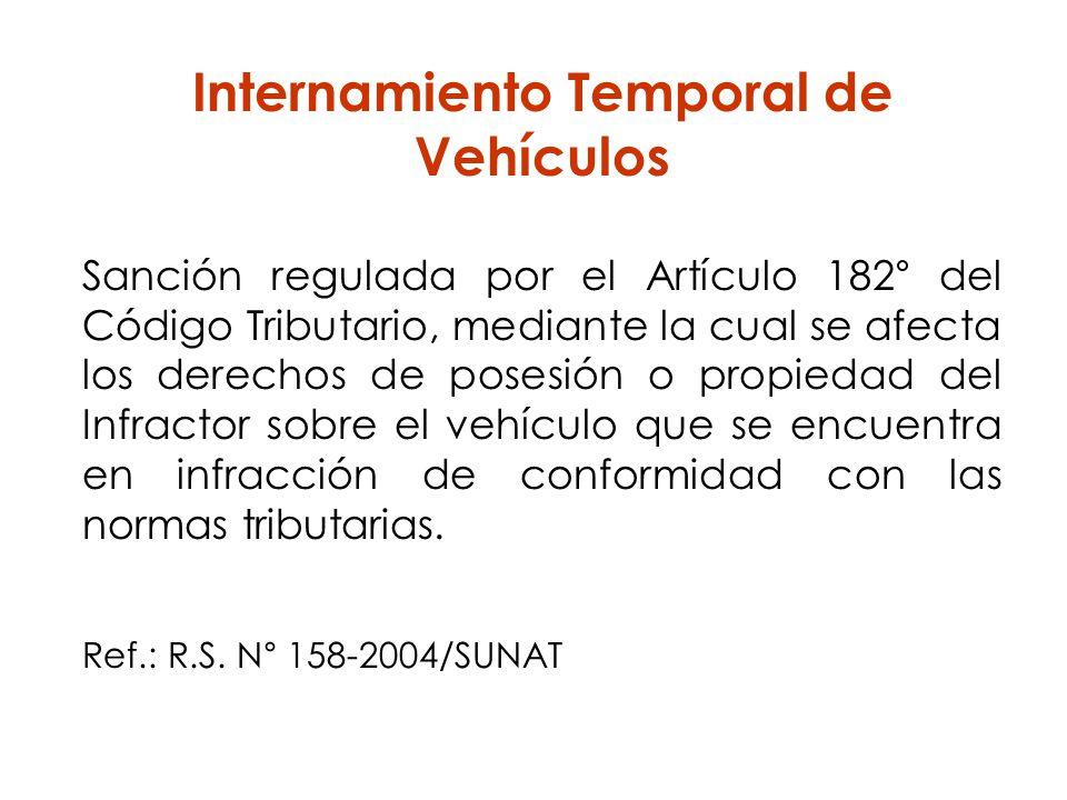 Internamiento Temporal de Vehículos Sanción regulada por el Artículo 182° del Código Tributario, mediante la cual se afecta los derechos de posesión o
