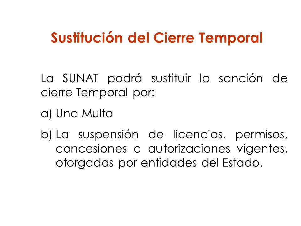 Sustitución del Cierre Temporal La SUNAT podrá sustituir la sanción de cierre Temporal por: a)Una Multa b)La suspensión de licencias, permisos, conces