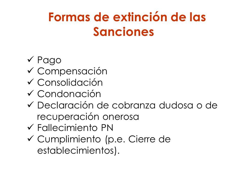 Formas de extinción de las Sanciones Pago Compensación Consolidación Condonación Declaración de cobranza dudosa o de recuperación onerosa Fallecimient