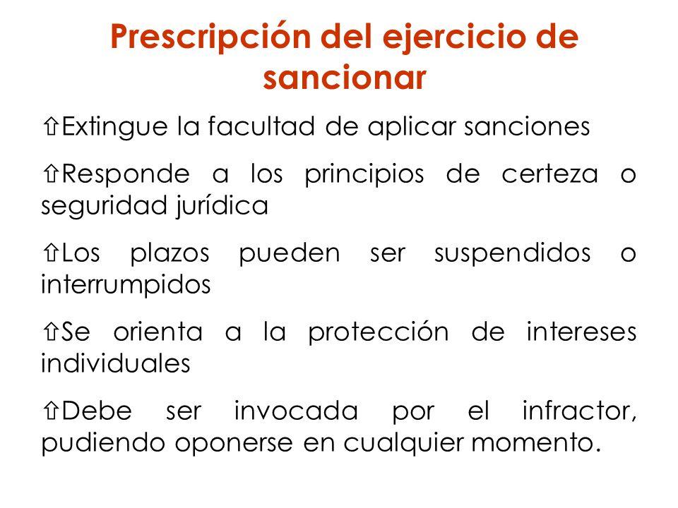 Extingue la facultad de aplicar sanciones Responde a los principios de certeza o seguridad jurídica Los plazos pueden ser suspendidos o interrumpidos