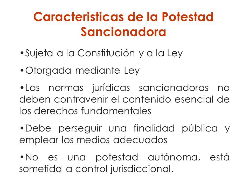Sujeta a la Constitución y a la Ley Otorgada mediante Ley Las normas jurídicas sancionadoras no deben contravenir el contenido esencial de los derecho