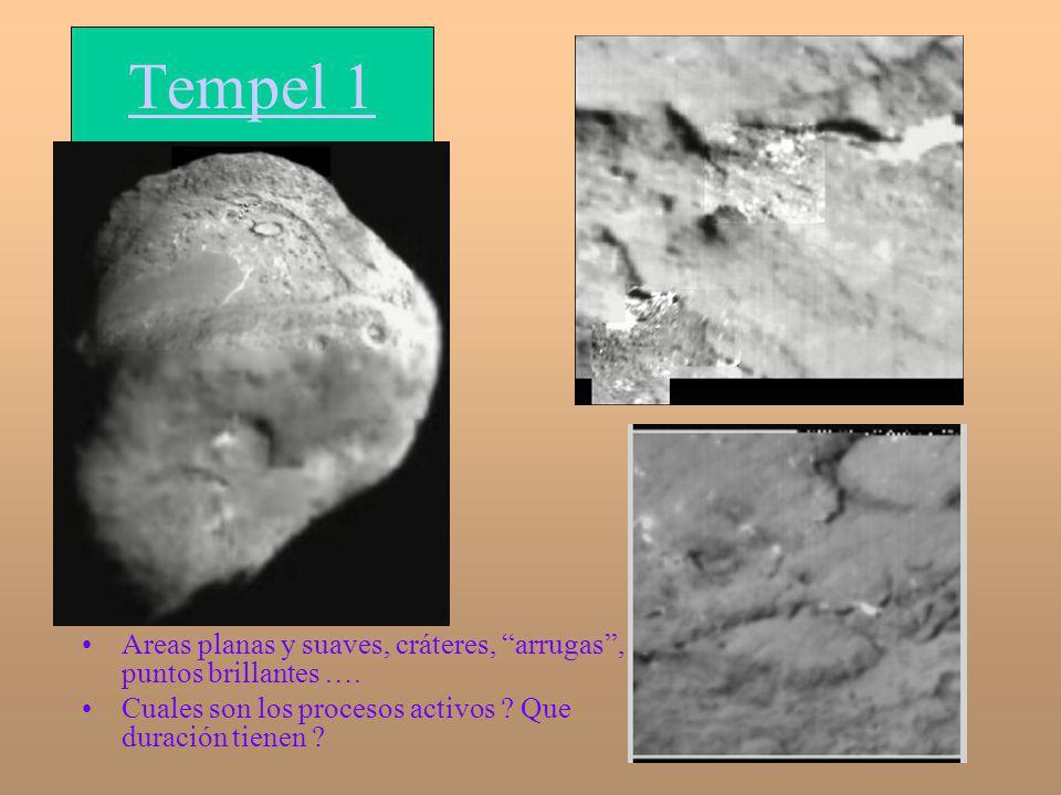Tempel 1 Areas planas y suaves, cráteres, arrugas, puntos brillantes …. Cuales son los procesos activos ? Que duración tienen ?