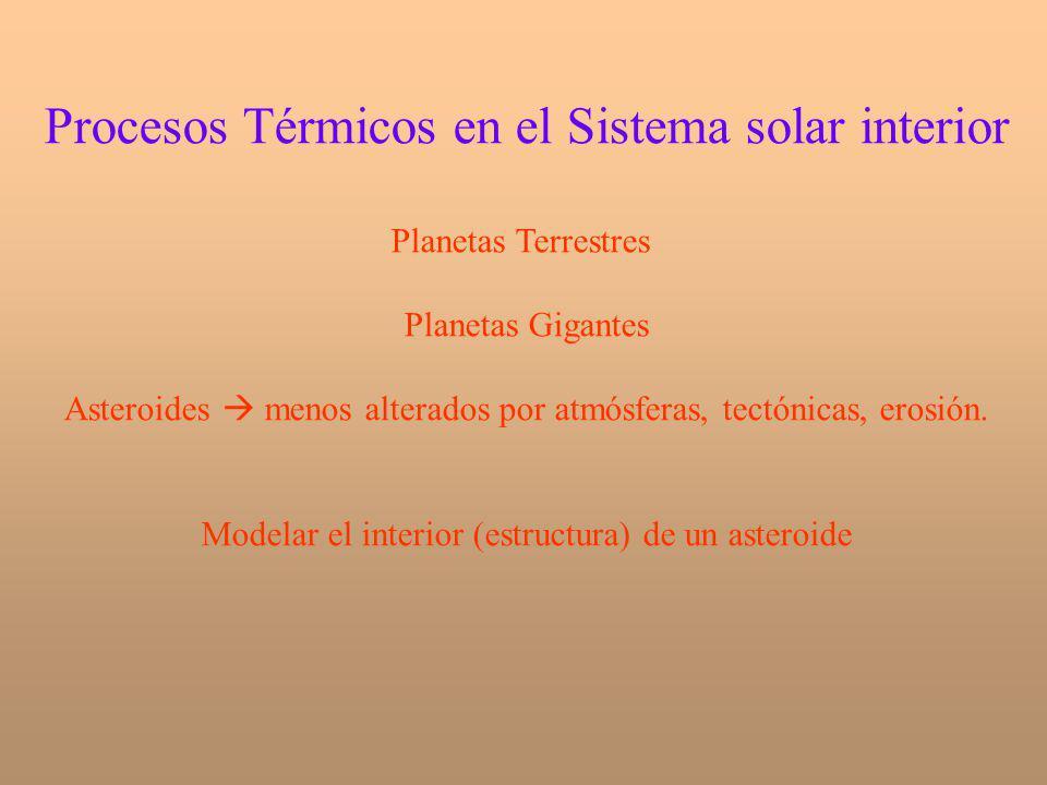 Procesos Térmicos en el Sistema solar interior Planetas Terrestres Planetas Gigantes Asteroides menos alterados por atmósferas, tectónicas, erosión. M