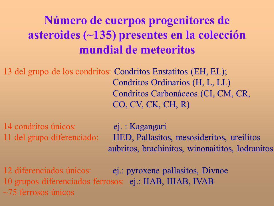 Número de cuerpos progenitores de asteroides (~135) presentes en la colección mundial de meteoritos 13 del grupo de los condritos: Condritos Enstatito