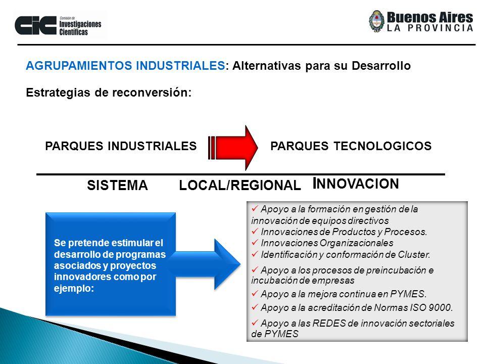 SISTEMALOCAL/REGIONAL I NNOVACION PARQUES INDUSTRIALESPARQUES TECNOLOGICOS Apoyo a la formación en gestión de la innovación de equipos directivos Inno