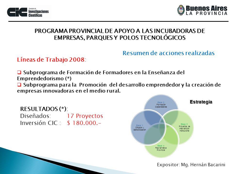 PROGRAMA PROVINCIAL DE APOYO A LAS INCUBADORAS DE EMPRESAS, PARQUES Y POLOS TECNOLÓGICOS Expositor: Mg. Hernán Bacarini Líneas de Trabajo 2008: Subpro