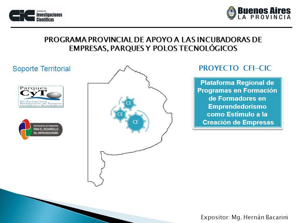PROGRAMA PROVINCIAL DE APOYO A LAS INCUBADORAS DE EMPRESAS, PARQUES Y POLOS TECNOLÓGICOS Expositor: Mg. Hernán Bacarini PROYECTO CFI-CIC Plataforma Re