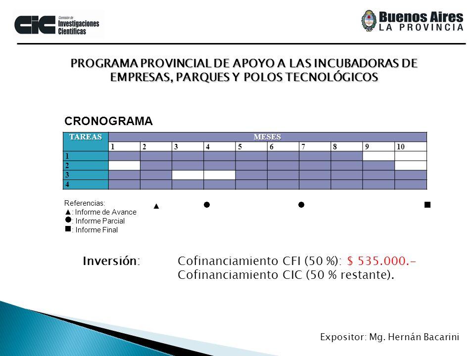 PROGRAMA PROVINCIAL DE APOYO A LAS INCUBADORAS DE EMPRESAS, PARQUES Y POLOS TECNOLÓGICOS Expositor: Mg. Hernán BacariniTAREASMESES 12345678910 1 2 3 4
