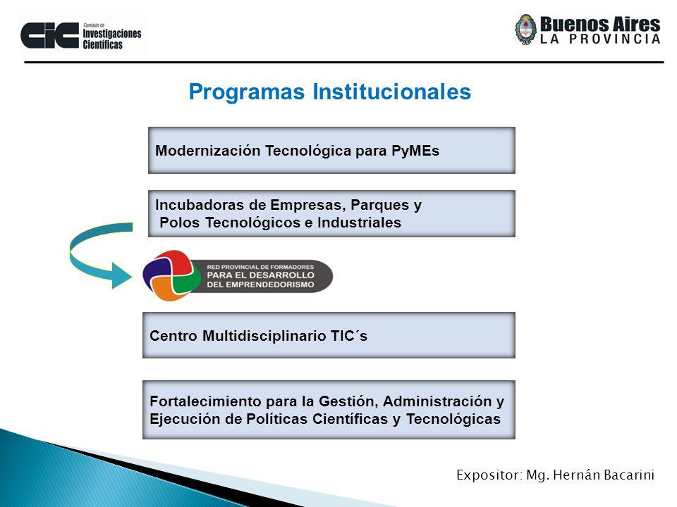 Modernización Tecnológica para PyMEs Programas Institucionales Incubadoras de Empresas, Parques y Polos Tecnológicos e Industriales Centro Multidiscip