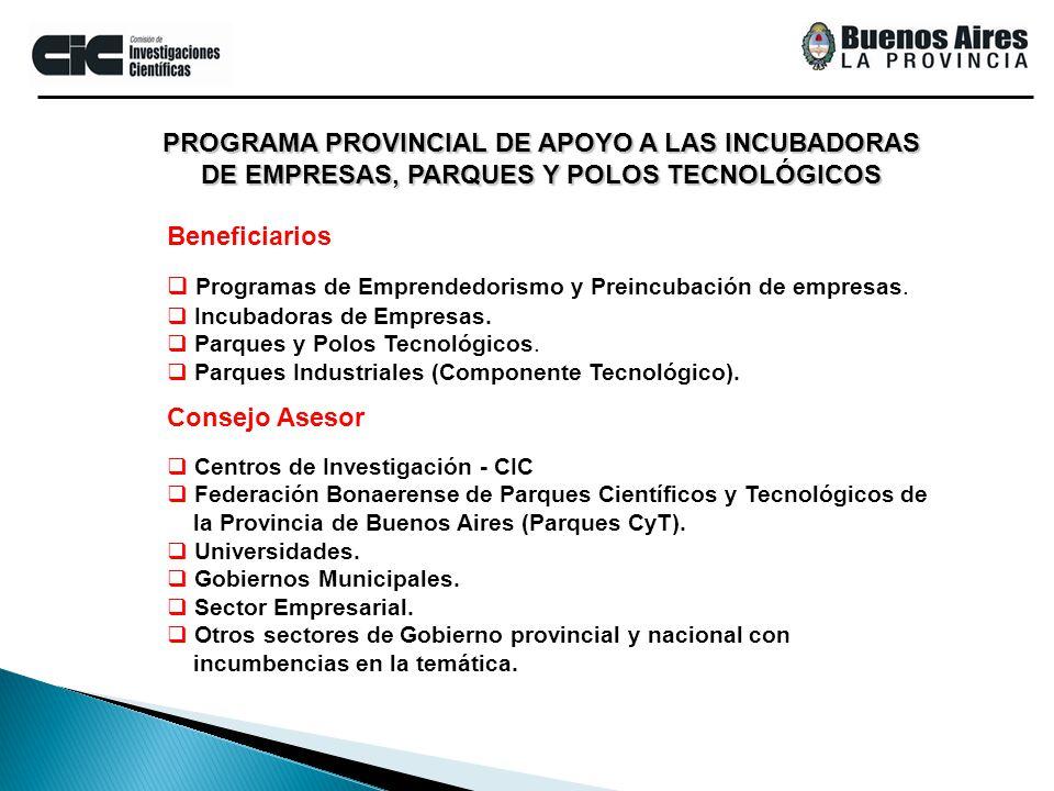 PROGRAMA PROVINCIAL DE APOYO A LAS INCUBADORAS DE EMPRESAS, PARQUES Y POLOS TECNOLÓGICOS Programas de Emprendedorismo y Preincubación de empresas. Inc