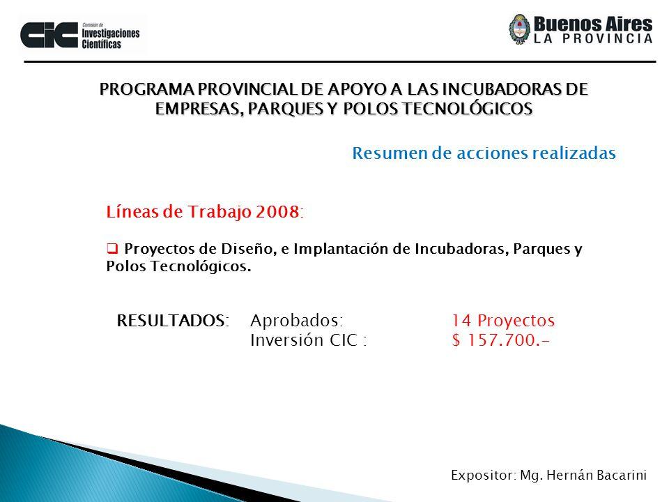PROGRAMA PROVINCIAL DE APOYO A LAS INCUBADORAS DE EMPRESAS, PARQUES Y POLOS TECNOLÓGICOS Expositor: Mg. Hernán Bacarini Líneas de Trabajo 2008: Proyec