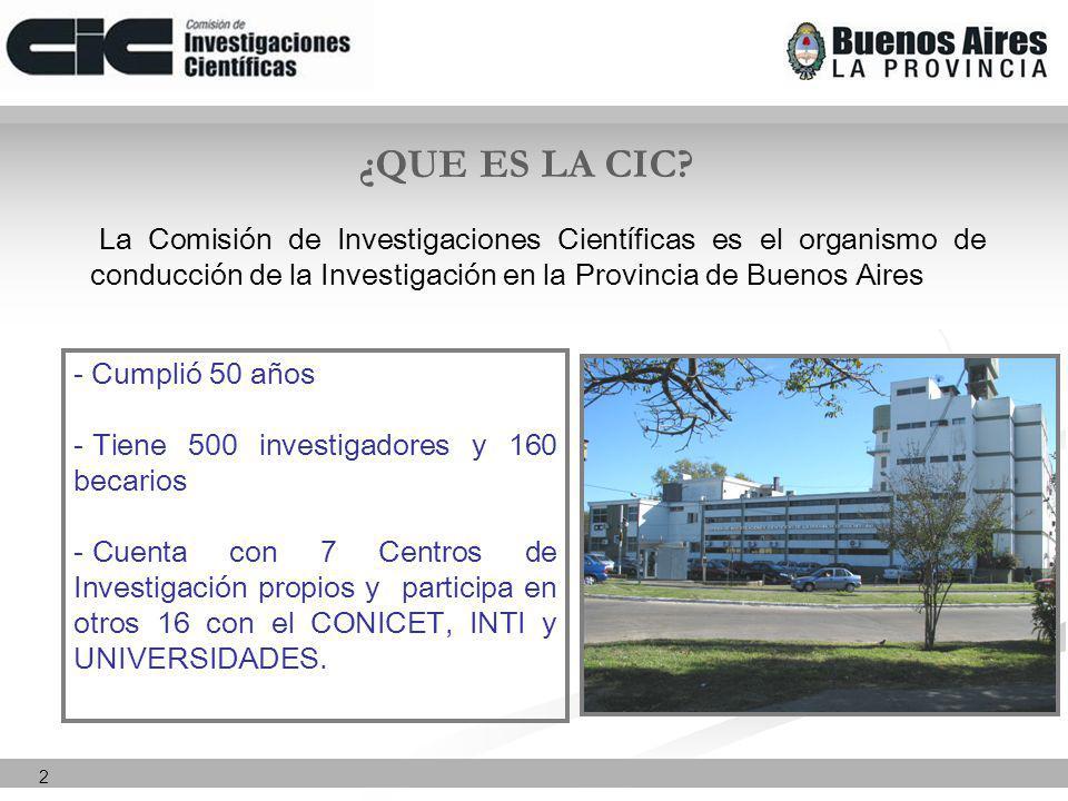 2 La Comisión de Investigaciones Científicas es el organismo de conducción de la Investigación en la Provincia de Buenos Aires ¿QUE ES LA CIC.