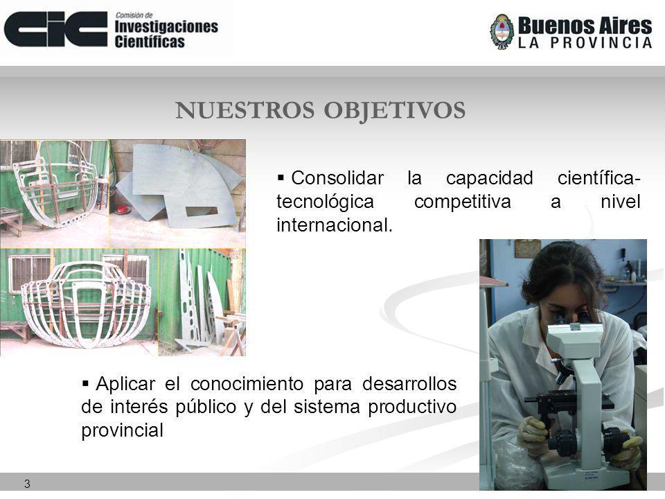 3 NUESTROS OBJETIVOS Consolidar la capacidad científica- tecnológica competitiva a nivel internacional.